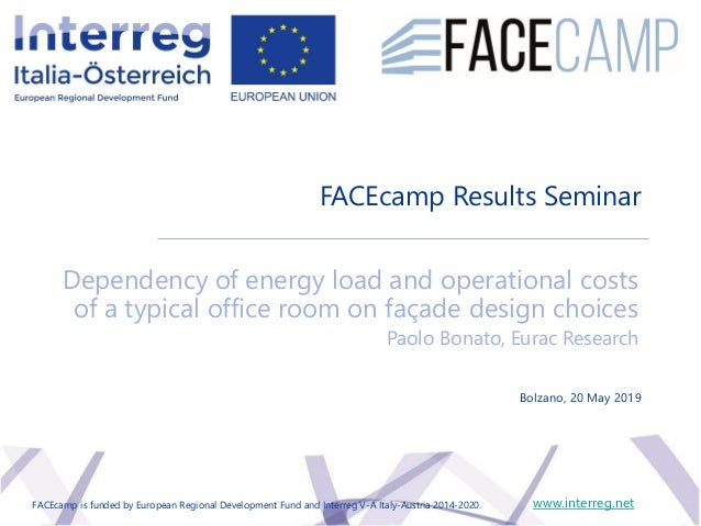 Dependency of energy load and operational costs of a typical office room on façade design choices Paolo Bonato, Eurac Rese...
