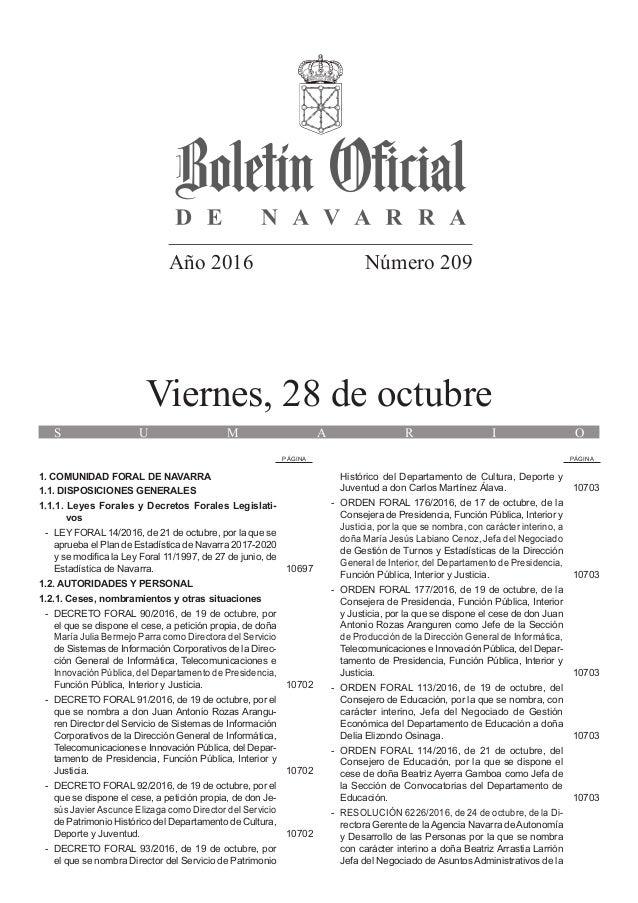 Año 2016 Número 209 Viernes, 28 de octubre S U M A R I O PÁGINA PÁGINA 1. COMUNIDAD FORAL DE NAVARRA 1.1. DISPOSICIONES GE...