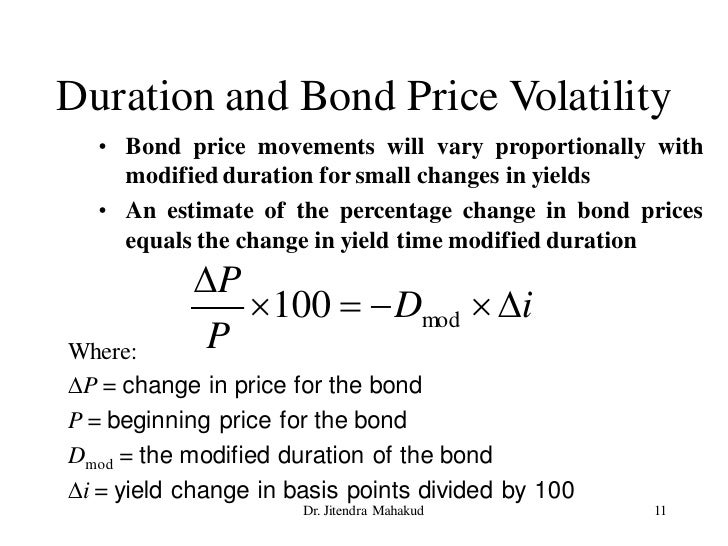 Duration and Bond Price Volatility   • Bond price movements will vary proportionally with     modified duration for small ...