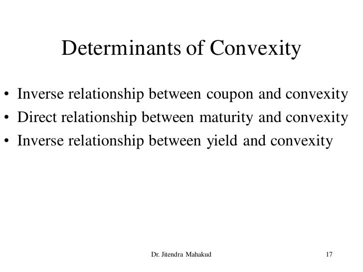 Determinants of Convexity • Inverse relationship between coupon and convexity • Direct relationship between maturity and c...