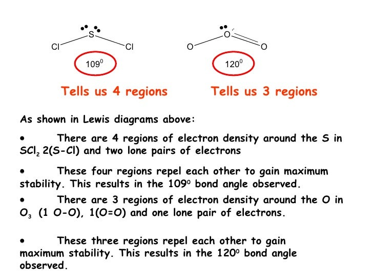    Tells us 4 regions Tells us 3 regions As shown in Lewis diagrams above:    There are 4 regions of electron densi...