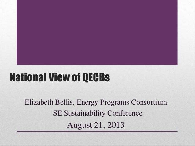 National View of QECBs Elizabeth Bellis, Energy Programs Consortium SE Sustainability Conference August 21, 2013