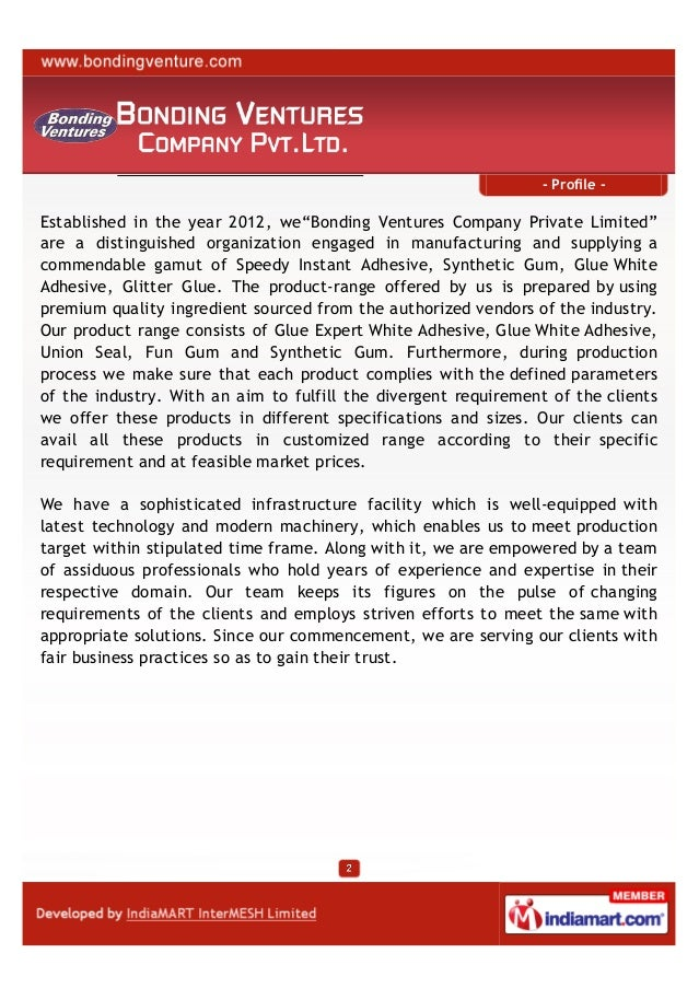 Bonding Ventures Company Private Limited, Bhiwandi, Synthetic Gum Slide 2