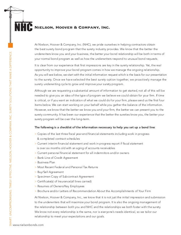 Bond kit cover letter with checklist nielson hoover company inc spiritdancerdesigns Images