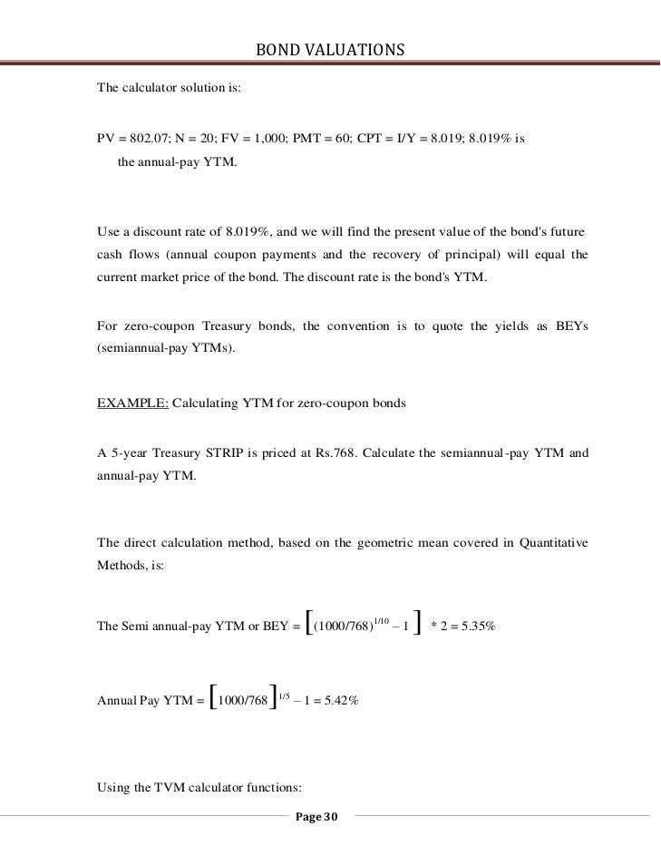 bond valuationsthe calculator
