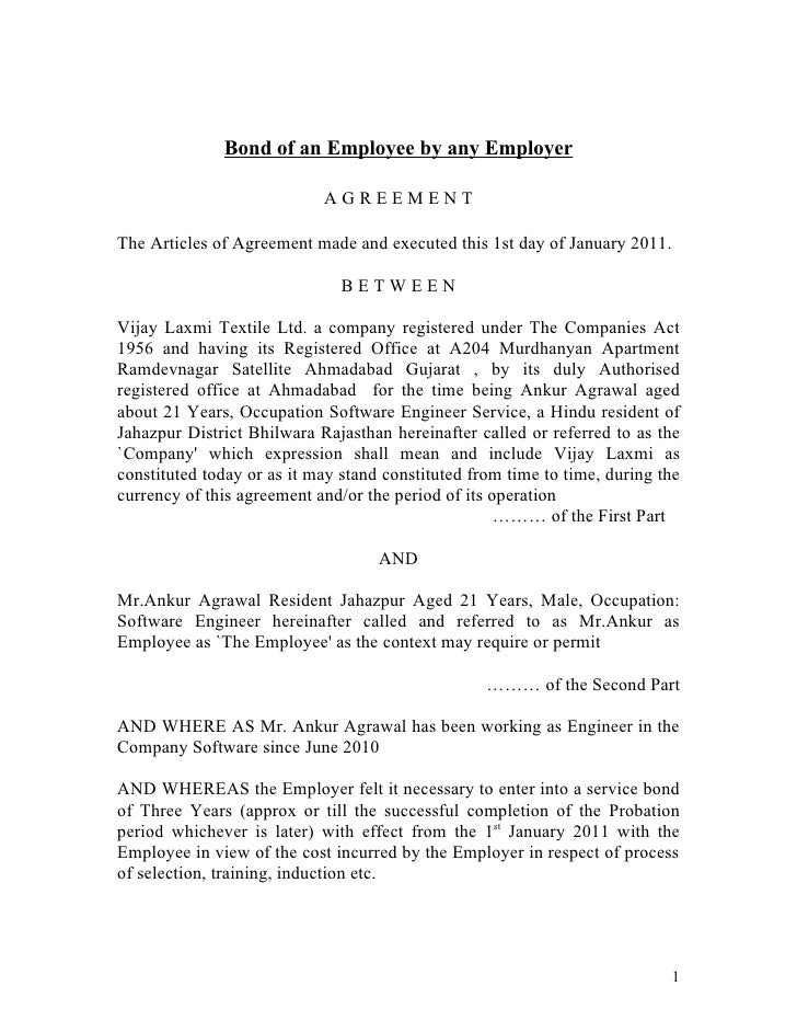 Bond of an employee by any employer – Training Agreement Template
