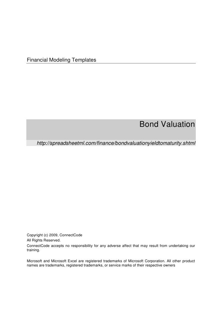 Financial Modeling Templates                                                                  Bond Valuation     http://sp...