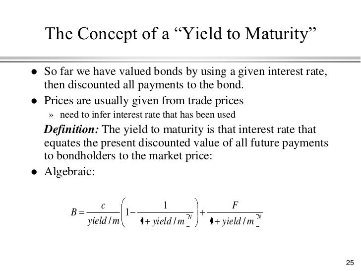 Yield to maturity definition