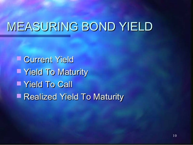 MEASURING BOND YIELD  Current Yield  Yield To Maturity  Yield To Call  Realized Yield To Maturity                     ...