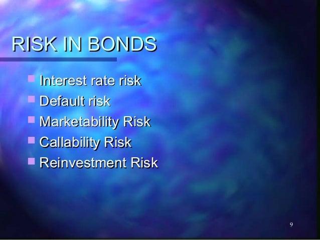 RISK IN BONDS  Interest rate risk  Default risk  Marketability Risk  Callability Risk  Reinvestment Risk             ...