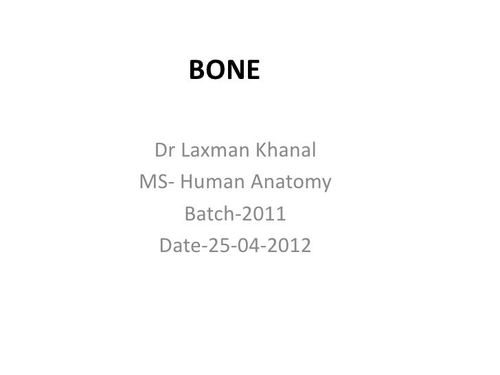 BONE Dr Laxman KhanalMS- Human Anatomy    Batch-2011 Date-25-04-2012