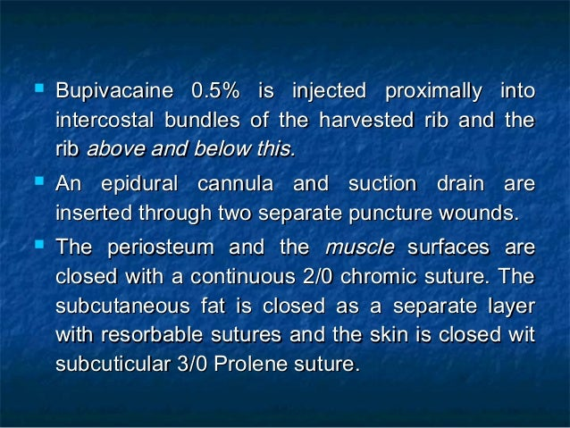  Bupivacaine 0.5% is injected proximally intoBupivacaine 0.5% is injected proximally into intercostal bundles of the harv...