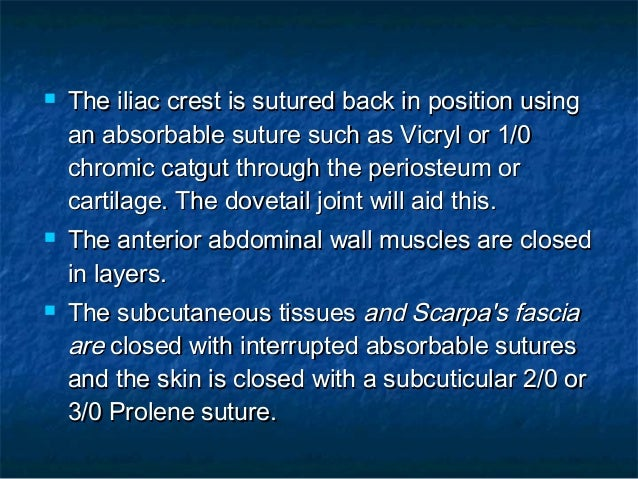  The iliac crest is sutured back in position usingThe iliac crest is sutured back in position using an absorbable suture ...