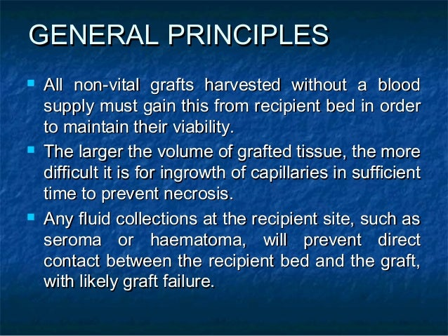 GENERAL PRINCIPLESGENERAL PRINCIPLES  All non-vital grafts harvested without a bloodAll non-vital grafts harvested withou...