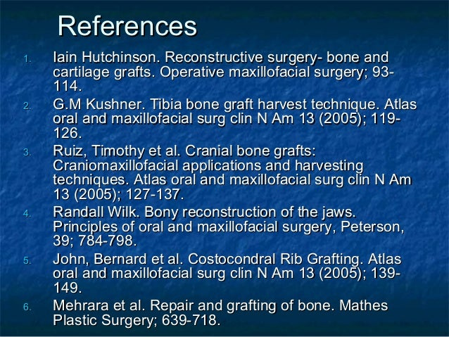 Bone grafts in oral surgery