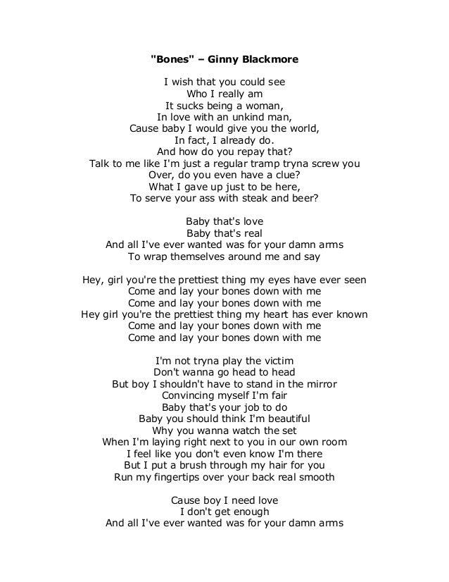 Lyric bones lyrics : Bones Lyrics - Ginny Blackmore