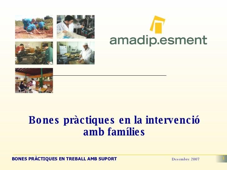 Bones pràctiques en la intervenció amb famílies
