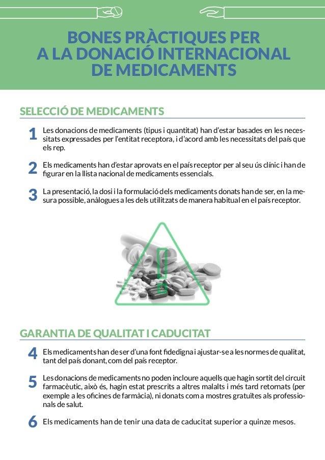 BONES PRÀCTIQUES PER A LA DONACIÓ INTERNACIONAL DE MEDICAMENTS SELECCIÓ DE MEDICAMENTS Les donacions de medicaments (tipus...