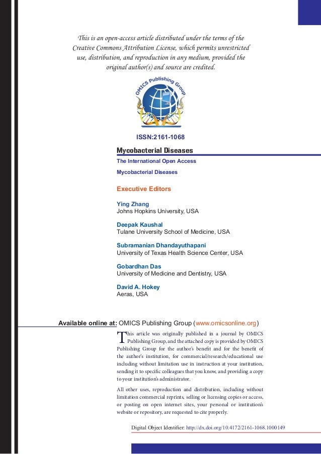 ISSN:2161-1068 Mycobacterial Diseases The International Open Access Mycobacterial Diseases Executive Editors Ying Zhang Jo...