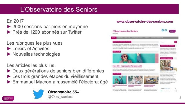 Observatoire 55+ @Obs_seniors www.observatoire-des-seniors.com L'Observatoire des Seniors En 2017 ► 2000 sessions par mois...