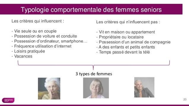 Typologie comportementale des femmes seniors Les critères qui influencent : - Vie seule ou en couple - Possession de voitu...