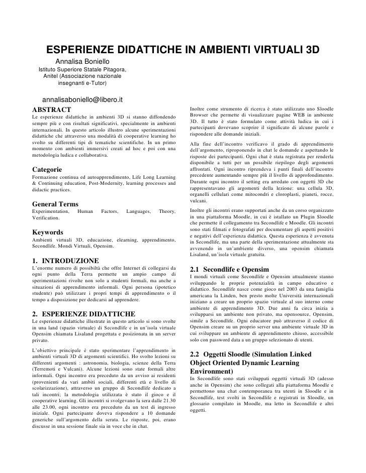 ESPERIENZE DIDATTICHE IN AMBIENTI VIRTUALI 3D            Annalisa Boniello    Istituto Superiore Statale Pitagora,      An...