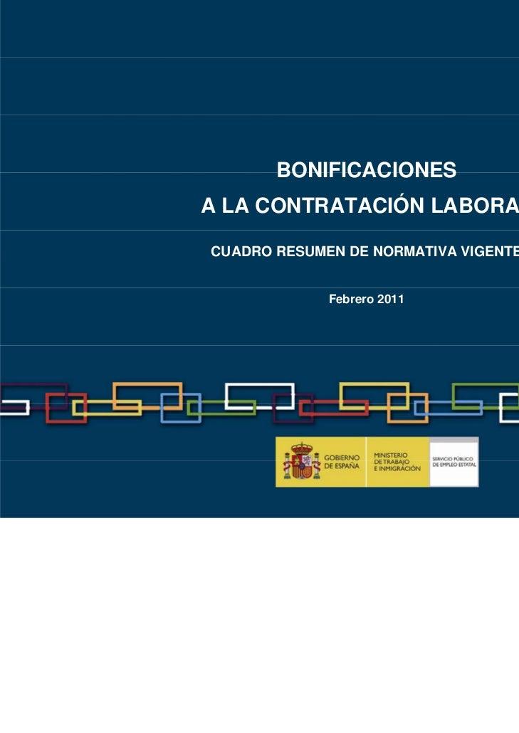 BONIFICACIONESA LA CONTRATACIÓN LABORALCUADRO RESUMEN DE NORMATIVA VIGENTE             Febrero 2011