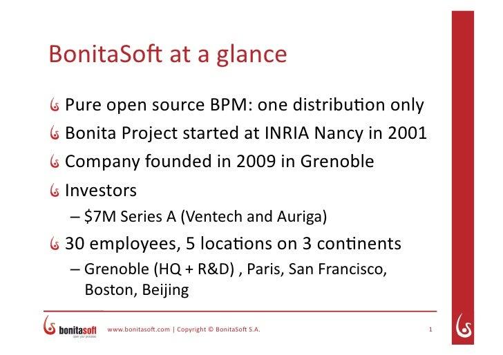 BonitaSo(ataglance   PureopensourceBPM:onedistribu7ononly   BonitaProjectstartedatINRIANancyin2001   ...
