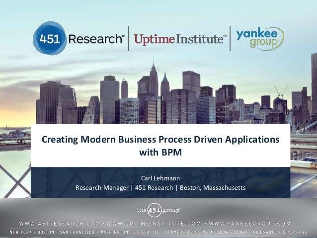 Creating Modern Business Process Driven Applications                    with BPM                            Carl Lehmann  ...