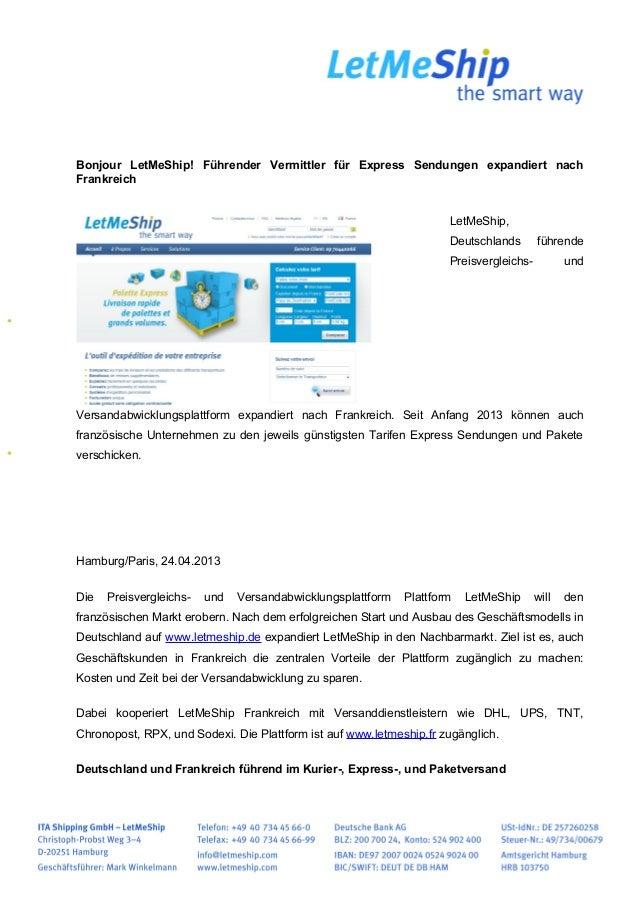 Bonjour LetMeShip! Führender Vermittler für Express Sendungen expandiert nachFrankreichLetMeShip,Deutschlands führendePrei...