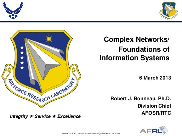 DISTRIBUTION A: Approved for public release; distribution is unlimited. Integrity  Service  Excellence Complex Networks/...