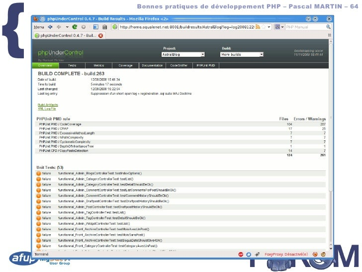 {         Bonnes pratiques de développement PHP – Pascal MARTIN – 64        phpUC – screenshot
