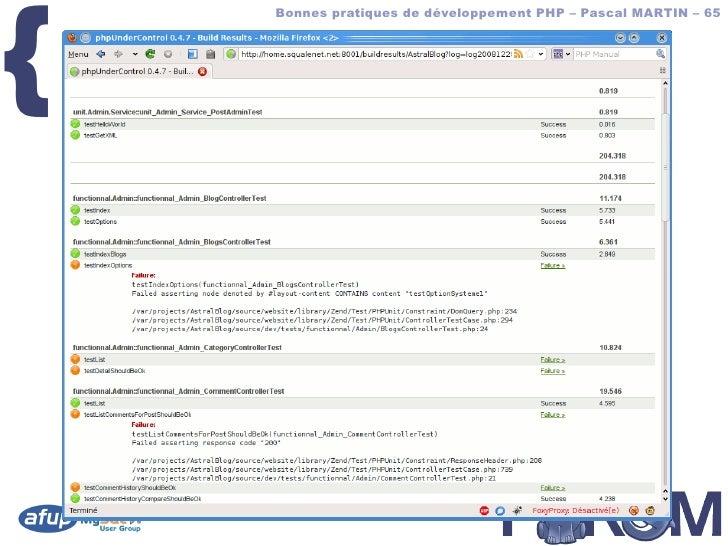 {         Bonnes pratiques de développement PHP – Pascal MARTIN – 65        phpUC – screenshot