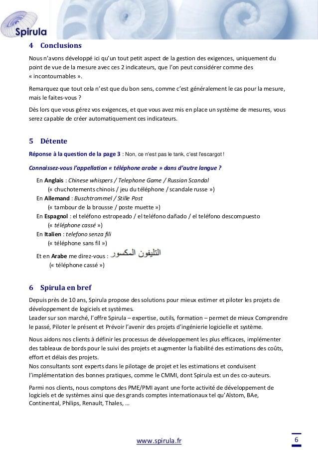 4 Conclusions Nous n'avons développé ici qu'un tout petit aspect de la gestion des exigences, uniquement du point de vue d...