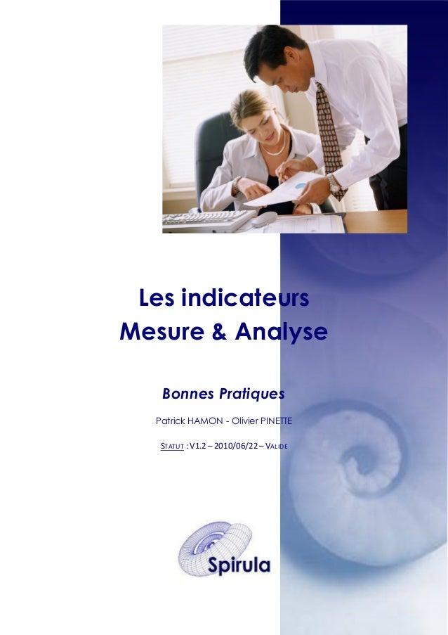 Les indicateurs Mesure & Analyse Bonnes Pratiques Patrick HAMON - Olivier PINETTE STATUT : V1.2 – 2010/06/22 – VALIDE