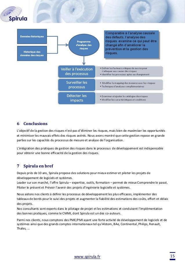6 Conclusions L'objectif de la gestion des risques n'est pas d'éliminer les risques, mais bien de maximiser les opportunit...