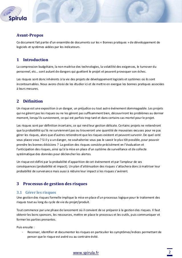 Avant-Propos Ce document fait partie d'un ensemble de documents sur les « Bonnes pratiques » de développement de logiciels...