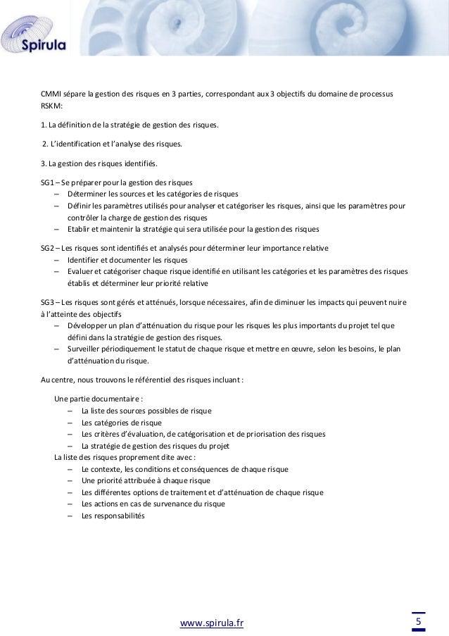 CMMI sépare la gestion des risques en 3 parties, correspondant aux 3 objectifs du domaine de processus RSKM: 1. La définit...