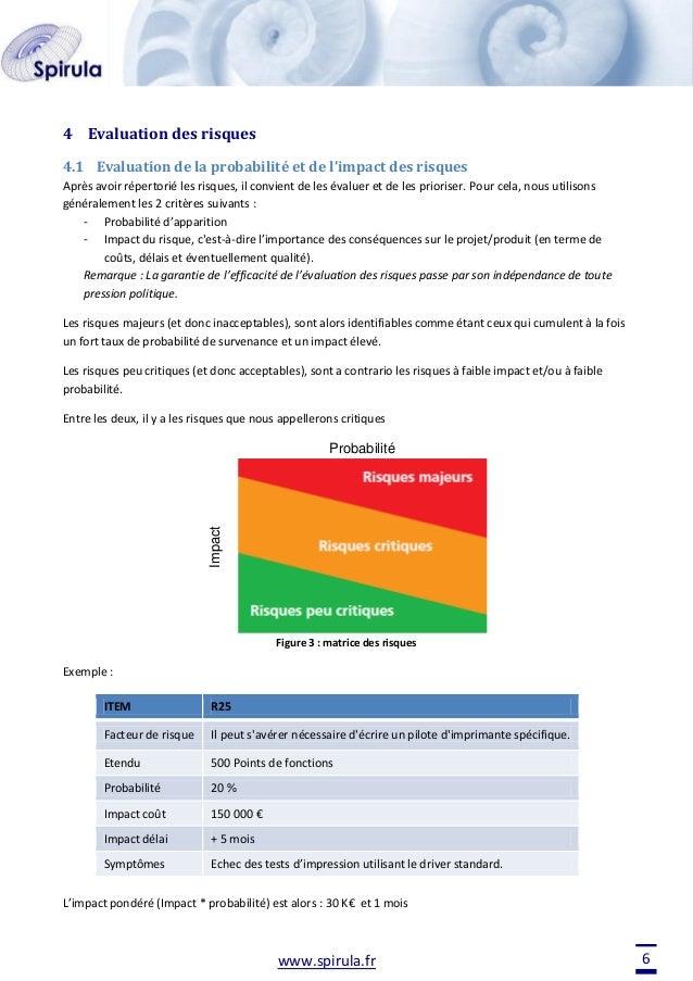4 Evaluation des risques 4.1 Evaluation de la probabilité et de l'impact des risques Après avoir répertorié les risques, i...
