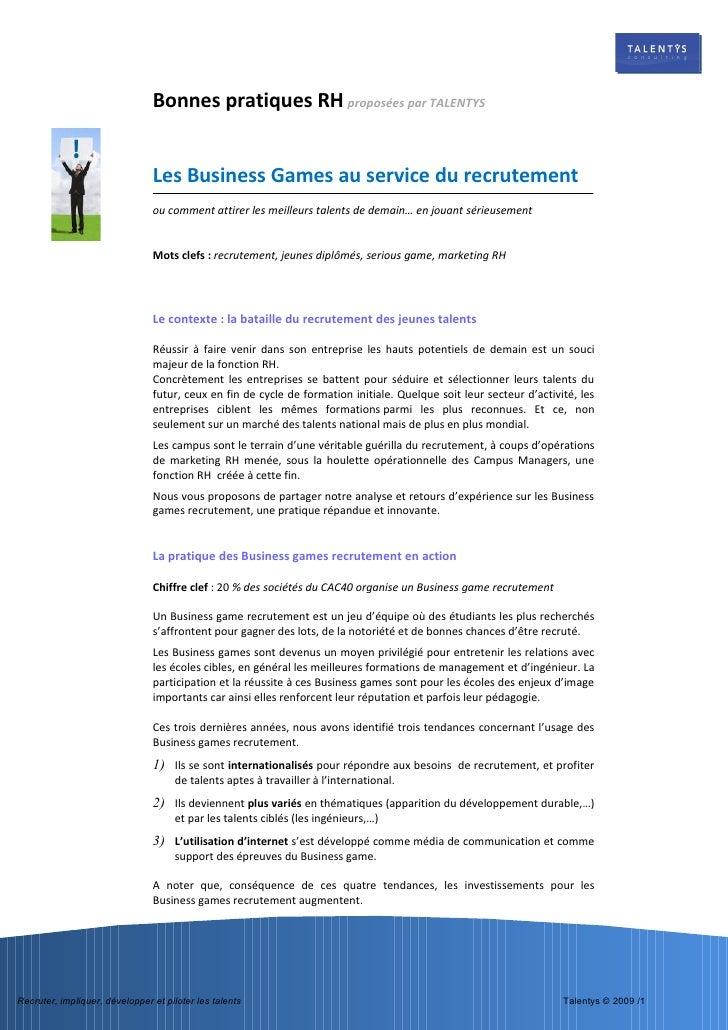 Bonnes pratiques rh talentys business game recrutement - Business plan cabinet de recrutement ...