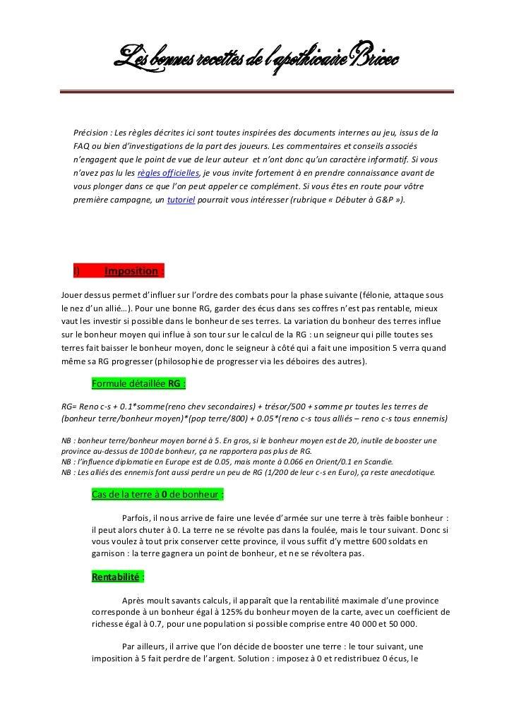 Les bonnes recettes de l'apothicaire Bricec   Précision : Les règles décrites ici sont toutes inspirées des documents inte...