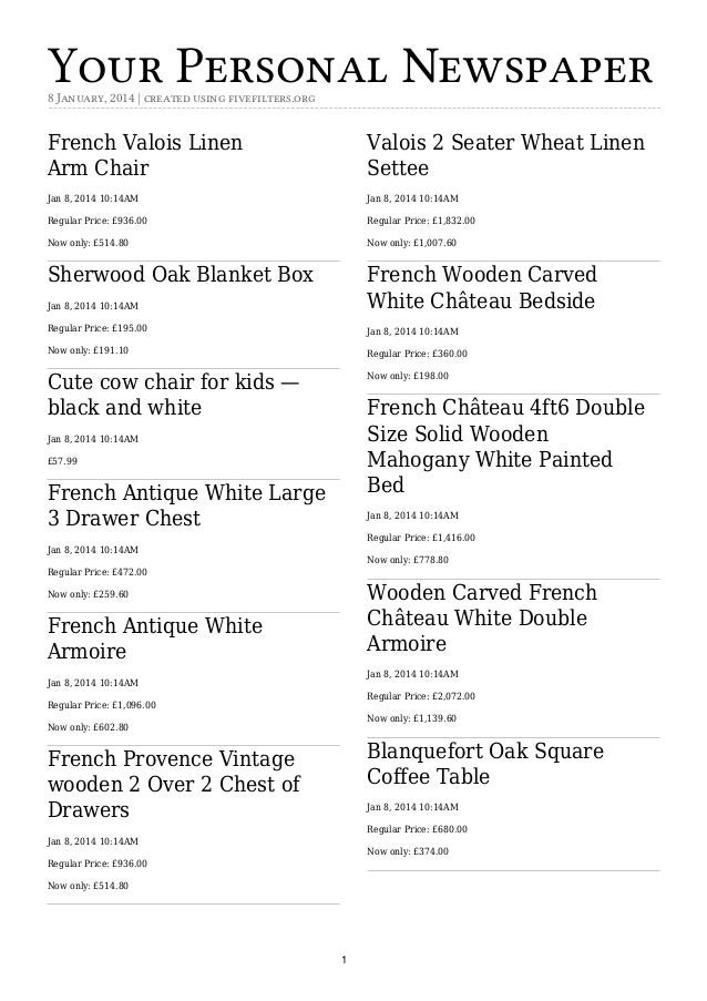 Your Personal Newspaper 8 January, 2014   created using fivefilters.org  French Valois Linen ArmChair  Valois 2Seater Wh...