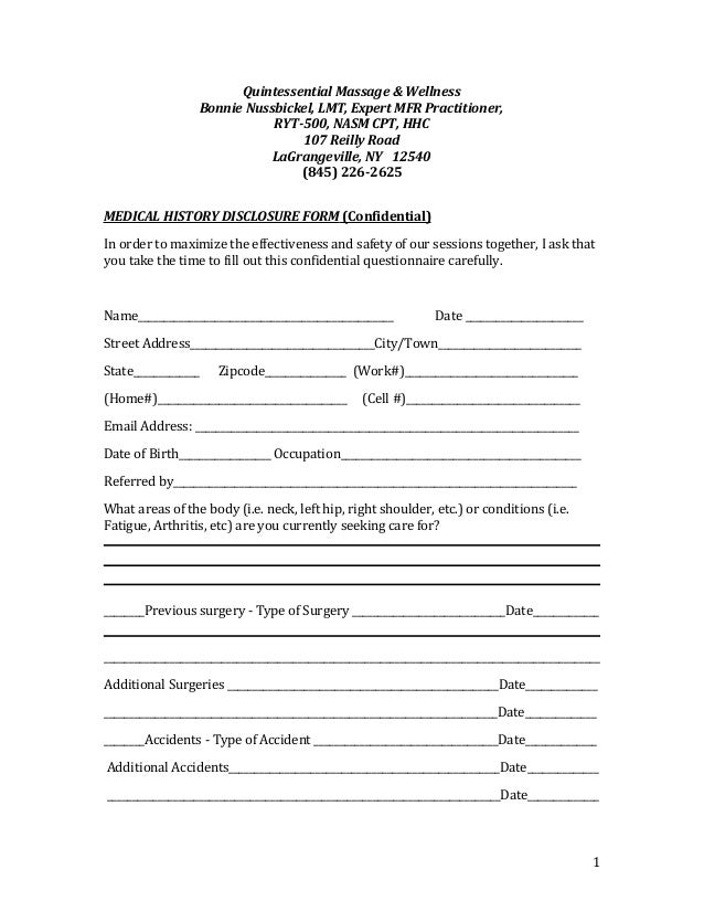 bonnies mfr medical history disclosure form