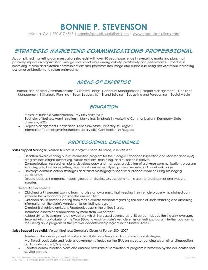 Captivating Bonnie Stevenson   Marketing Communications Strategist Resume. BONNIE P.  STEVENSONu003cbr /u003eAtlanta, GA | 770.317.4347 ... Intended For Marketing Communications Resume