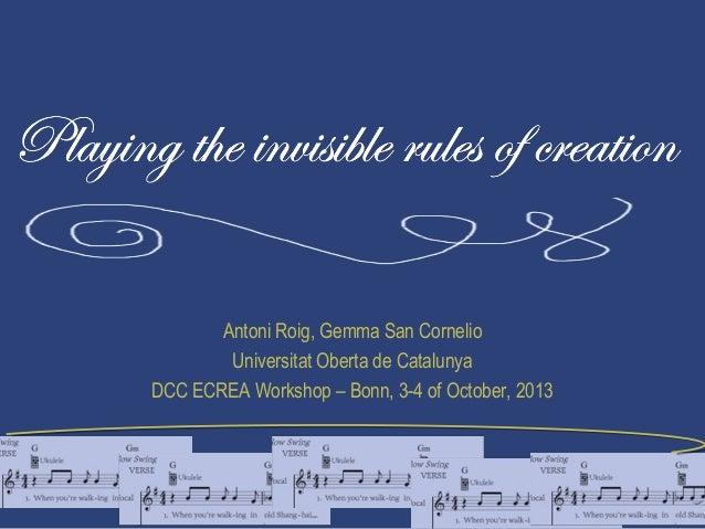 Antoni Roig, Gemma San Cornelio Universitat Oberta de Catalunya DCC ECREA Workshop – Bonn, 3-4 of October, 2013