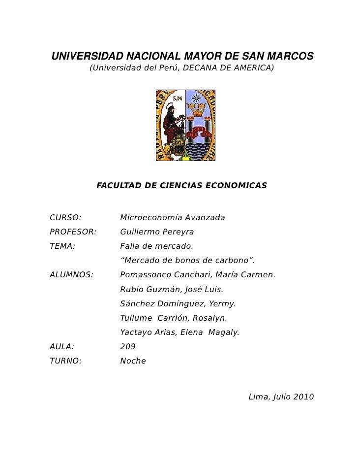 UNIVERSIDADNACIONALMAYORDESANMARCOS          (Universidad del Perú, DECANA DE AMERICA)                FACULTAD DE CIE...