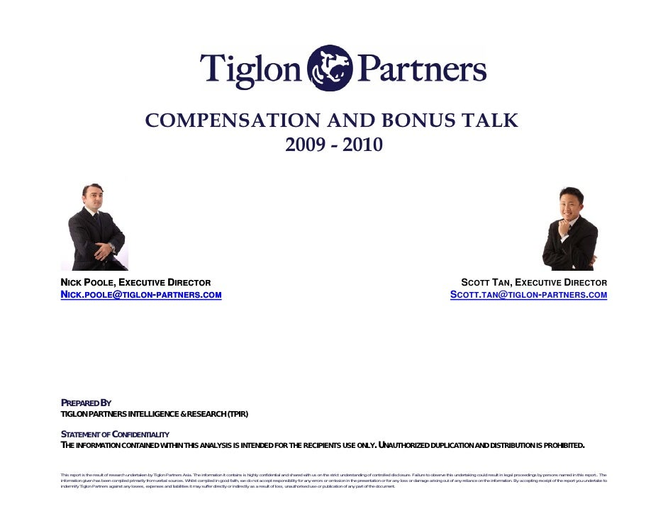 COMPENSATION AND BONUS TALK                                                         2009 - 2010     NICK POOLE, EXECUTIVE ...