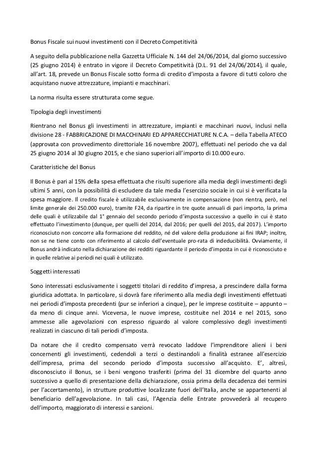 Bonus fiscale sui nuovi investimenti con il decreto for Bonus fiscale