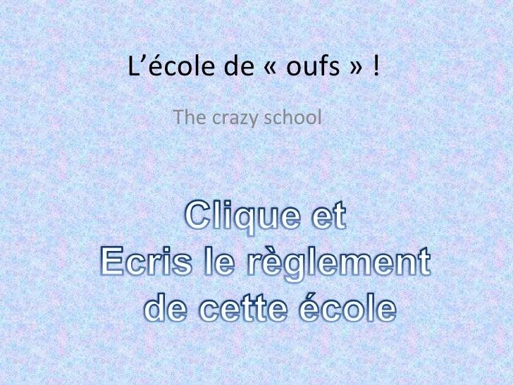 L'école de «oufs» ! The crazy school