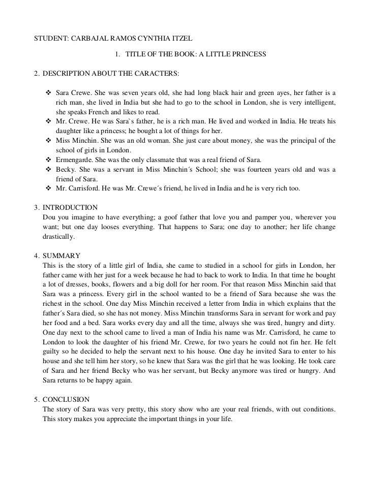 STUDENT: CARBAJAL RAMOS CYNTHIA ITZEL                           1. TITLE OF THE BOOK: A LITTLE PRINCESS2. DESCRIPTION ABOU...